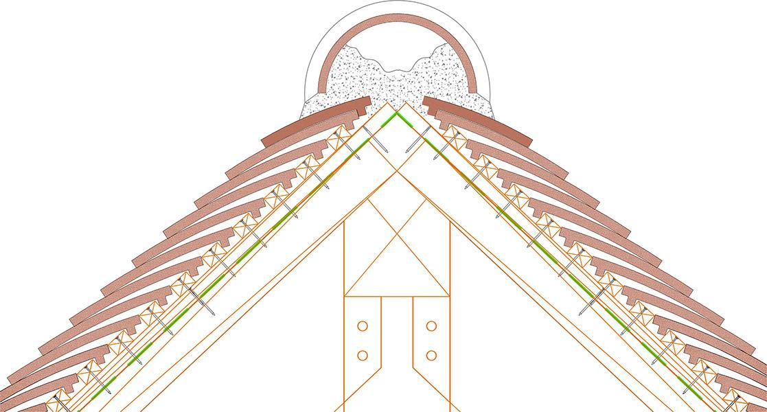 Couverture en tuile plate avec faitage scellé
